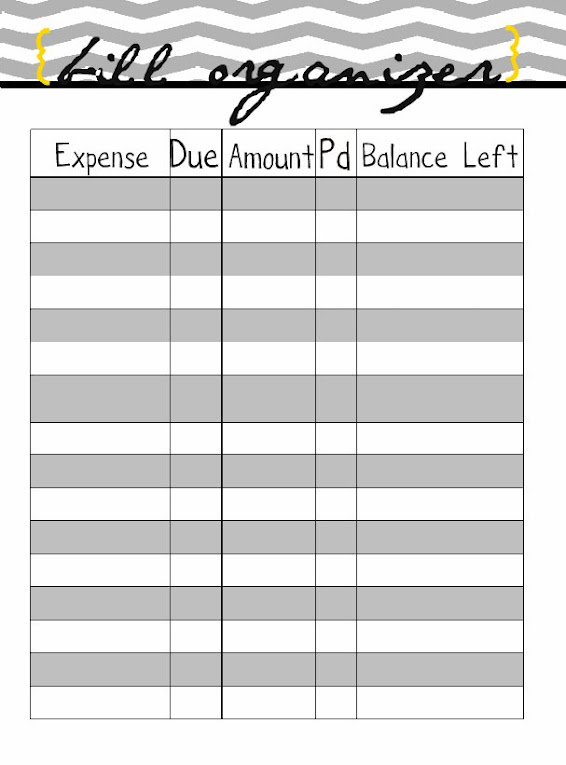 bill paying organizer template