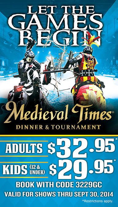 Medieval Times Dinner & Tournament Medieval Times' Noble Feast includes garlic bread, tomato bisque soup, roasted chicken, corn cob, herb-basted potatoes, pastry of the Castle, coffee and two rounds of select beverages. A full-service bar is also available for adult guests. Vegetarian meals are available upon request.