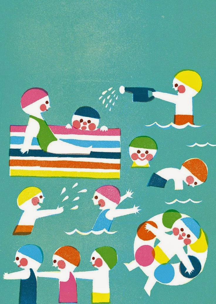 illustration by Kazuaki Yamauchi of kids on their vacation playing in the sea