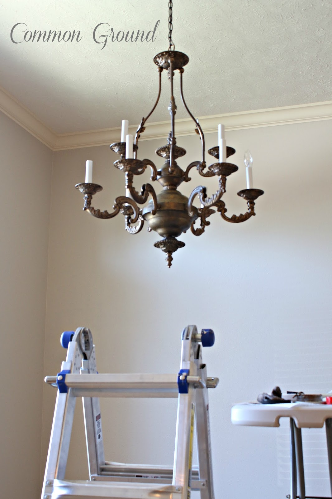 Epic mon ground Faux Painted Chandelier