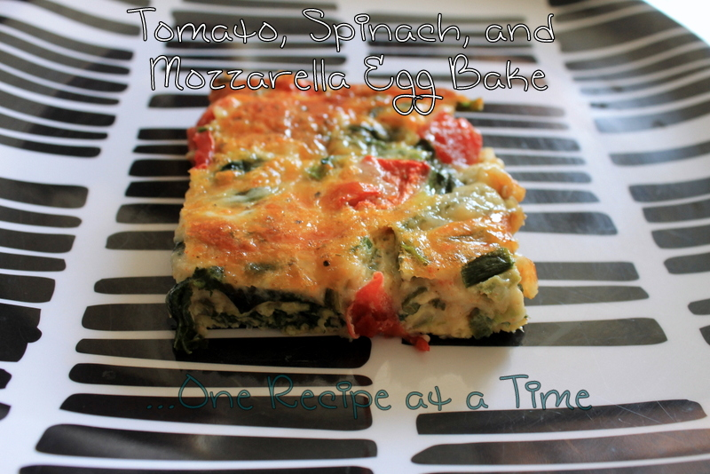 ... Ropes...One Recipe at a Time: Tomato, Spinach, and Mozzarella Egg Bake