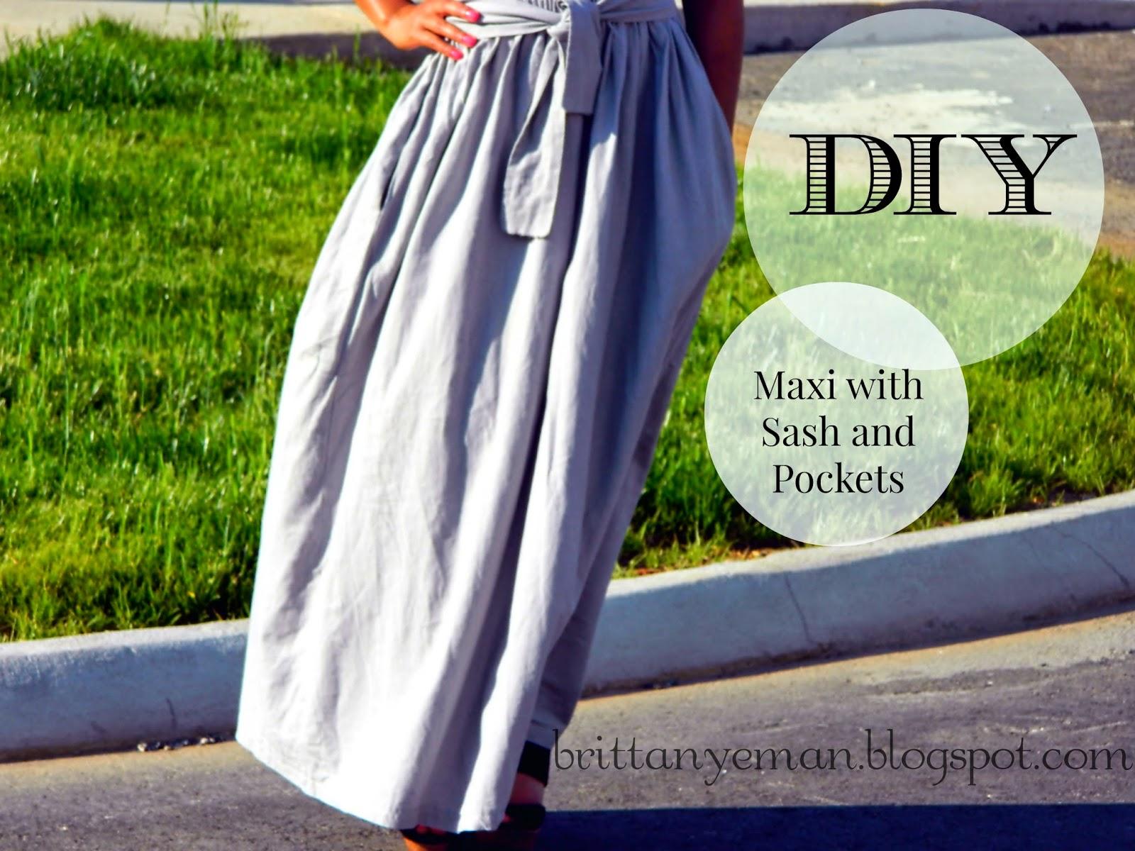 e diy linen maxi skirt with pockets and sash