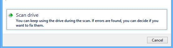 Scan dialog box on Windows