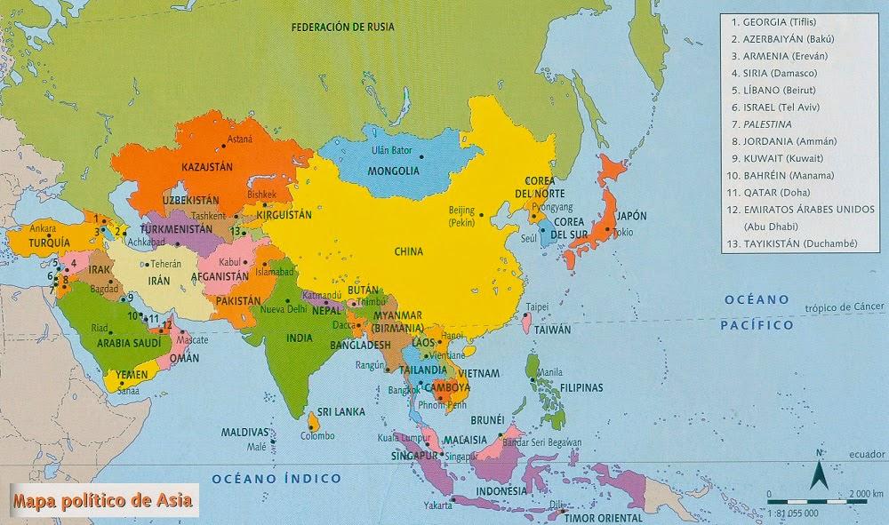 Mapa Division Politica De Asia