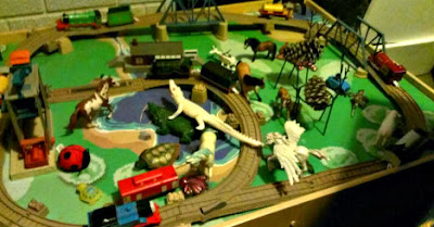 train table attacked by horses