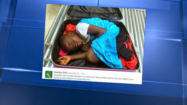 Ivorian illegal immigrant hidden in a suitcase caught (Picture)