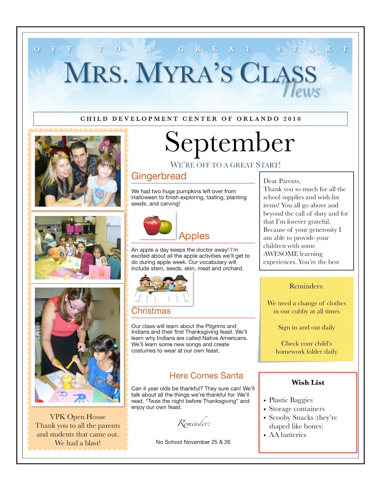 Baby Sitting News Letter Template
