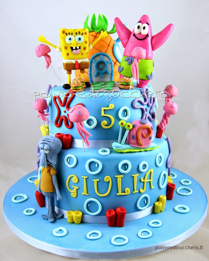 spongebob cake torta decorata pasta di zucchero cake design polvere di zucchero