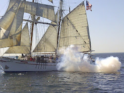 Cannon fire from the Exy Johnson Tall Ship