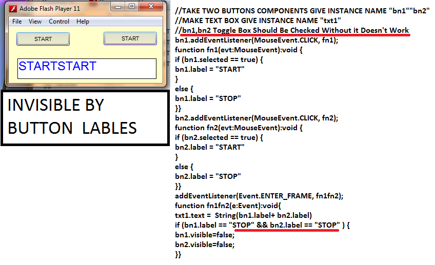 toggle button invisible function as2 as3 flash college