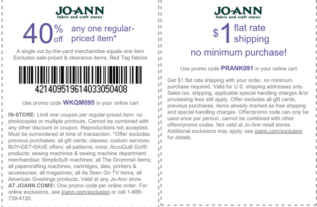 How to use a thritingetfc7.cf coupon Joann offers a variety of ways to save via their website. If you are an interior designer or a member of a professional sewing/crafting organization, you can enroll in Joann's VIP Program (free)and save 10% off every purchase.