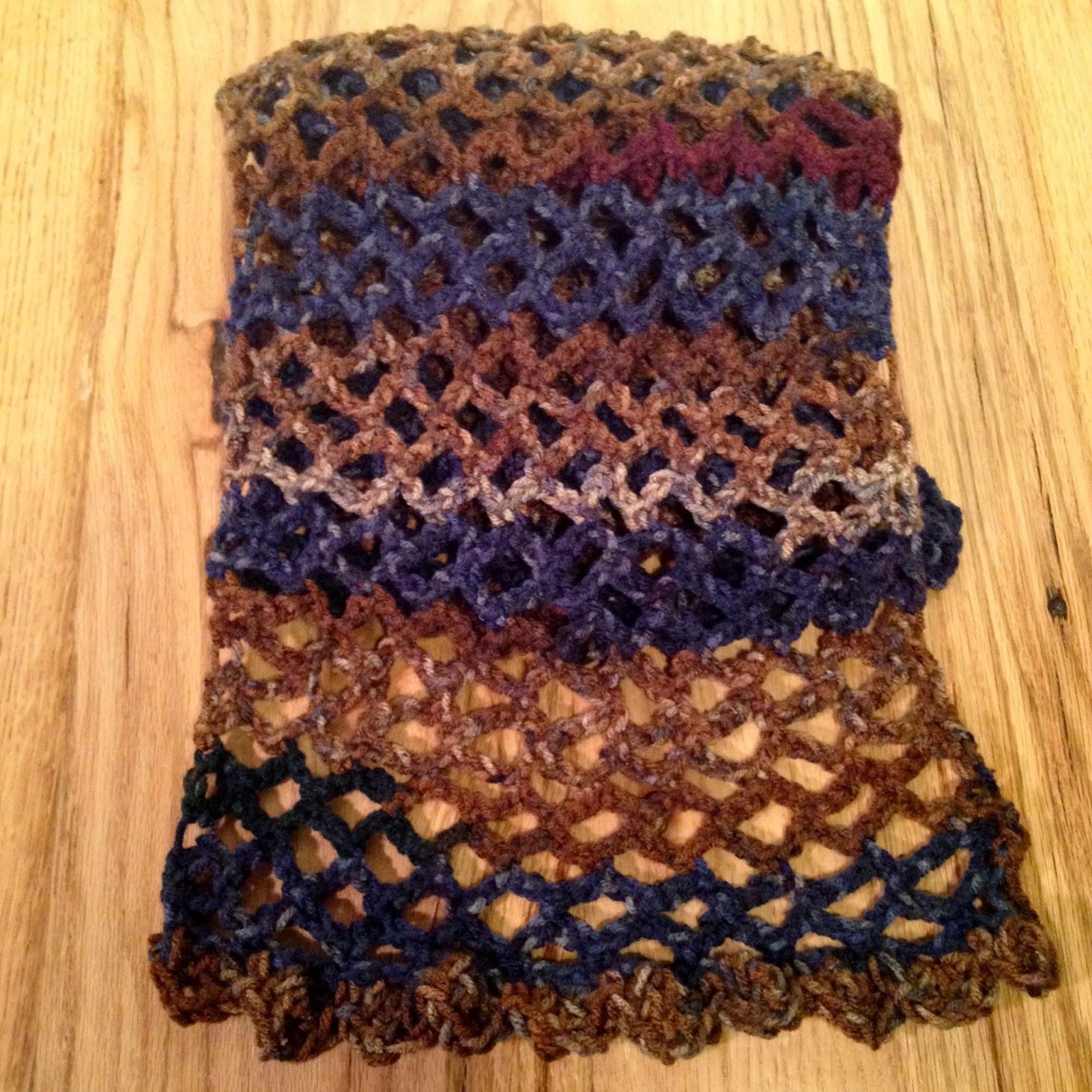 Autumn Sky Openwork Crochet Scarf ombre net design by TheHuntshire