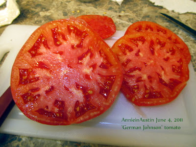 Annieinaustin german johnson tomato sliced