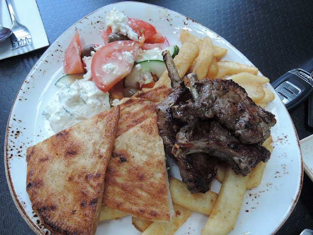57 cafe;  souvlaki and chips, lunch