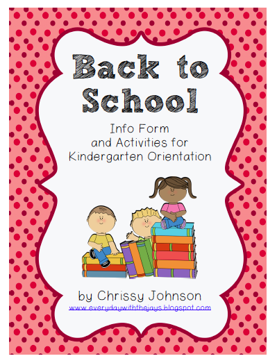 http://www.teacherspayteachers.com/Product/Back-to-School-Info-Form-and-Activities-for-Kindergarten-Orientation-1328195