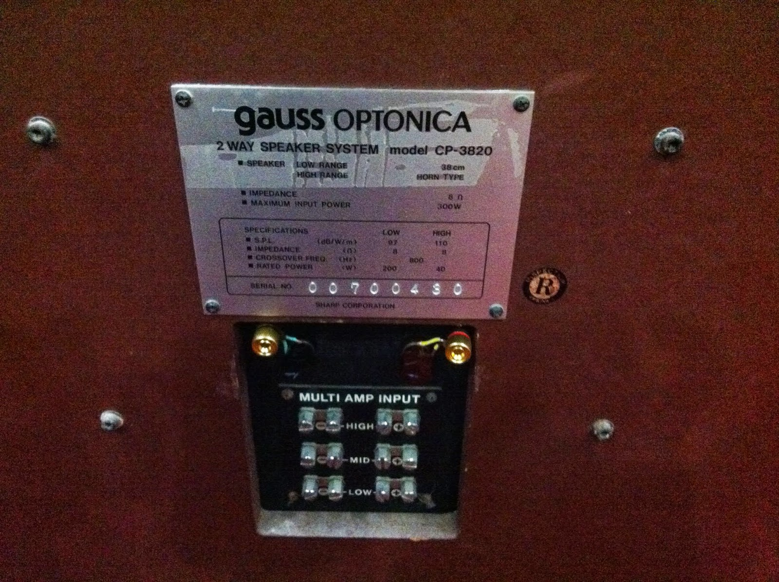 Thông số loa Gauss Optonica CP-3820