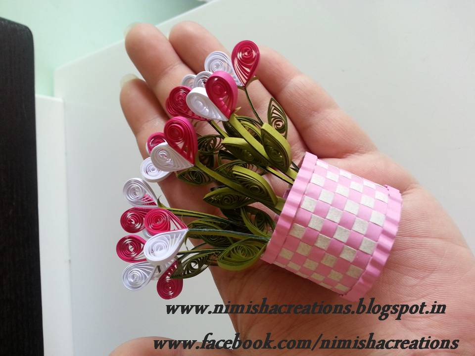 How To Make A Quilling Flower Basket : Nimisha s creations new miniature quilled flower basket