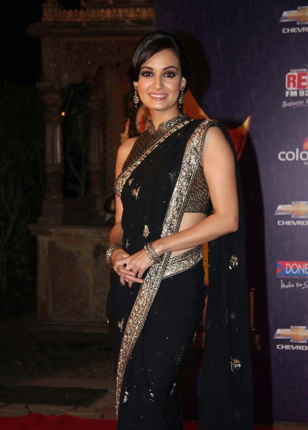 Dia Mirza at Apsara Awards1 - Diya mirza in Black Saree at Apsara Awards 2012