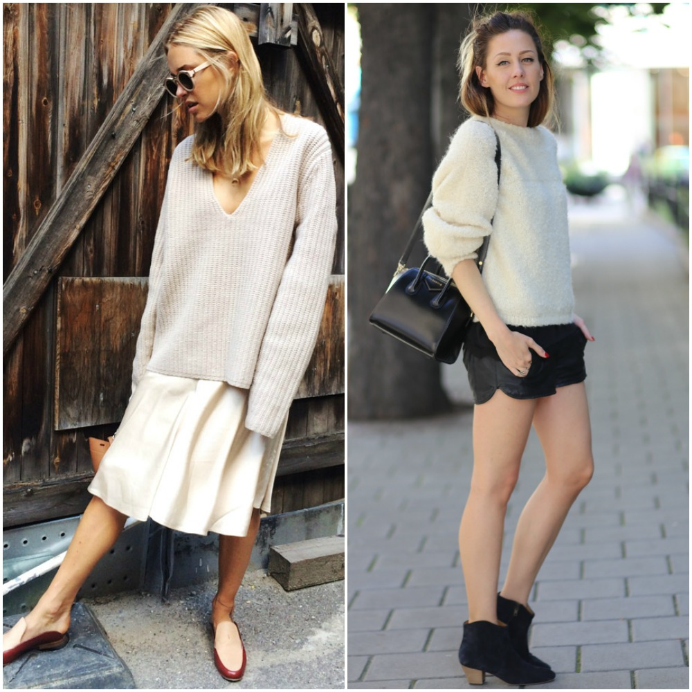 back to school outfit ideas - beige knit sweaters jumpers paired - midi skirt - shorts - ankle boots - loafers - street style looks
