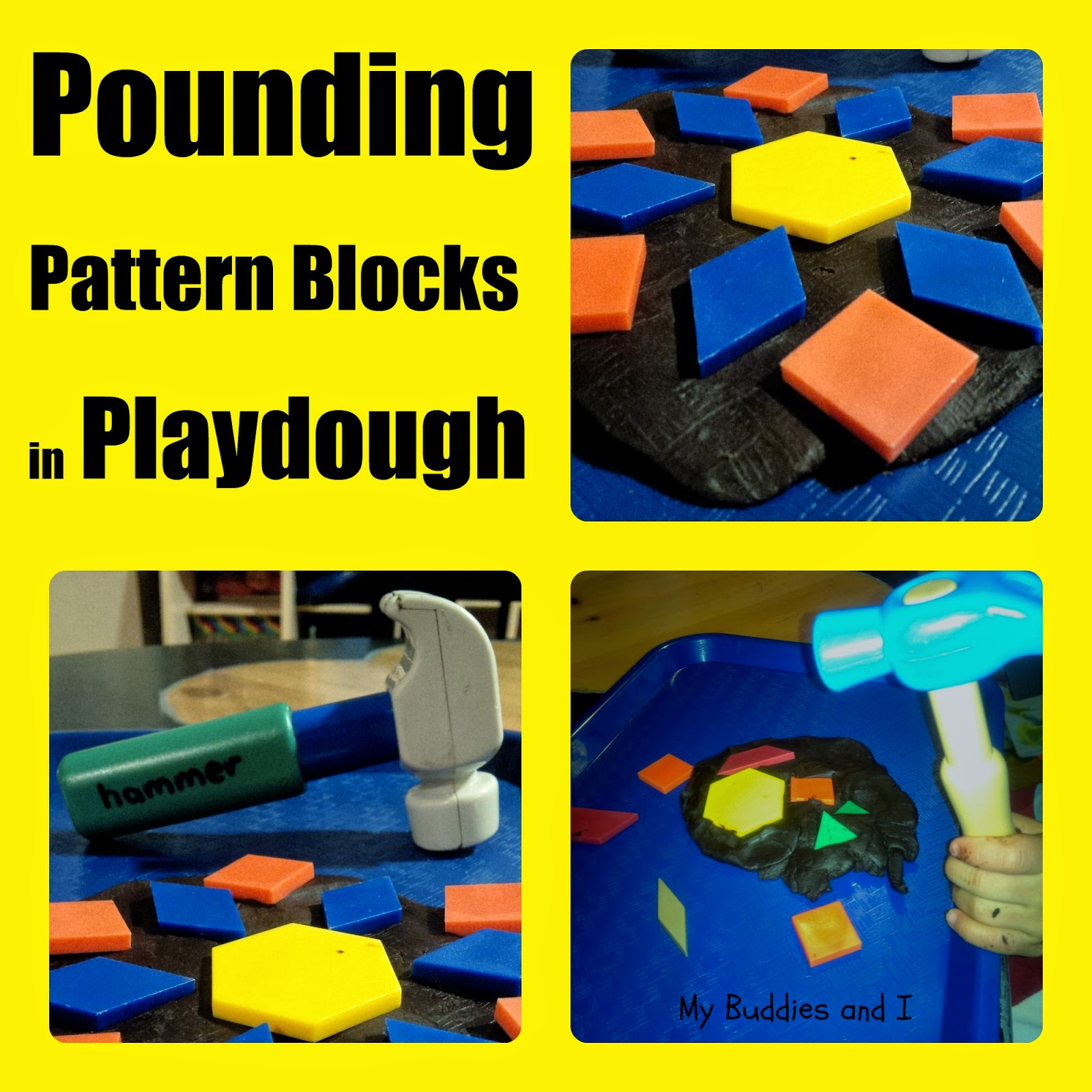pattern blocks in playdough