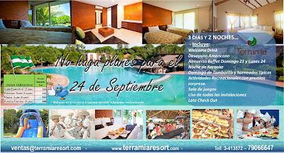 El Hotel Terramia Resort & Spa SA, ubicado a 30 minutos de la ciudad, le tiene programado 3 dias y 2 noches de Diversion y descanso junto a su familia y amigos, hagan su reserva, llamando al 79066647 - 3413572 o visitando la pagina Web www.terramiaresort.com