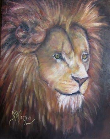 """""""Shombay"""" , a lion portrait  in oils, deep canvas"""