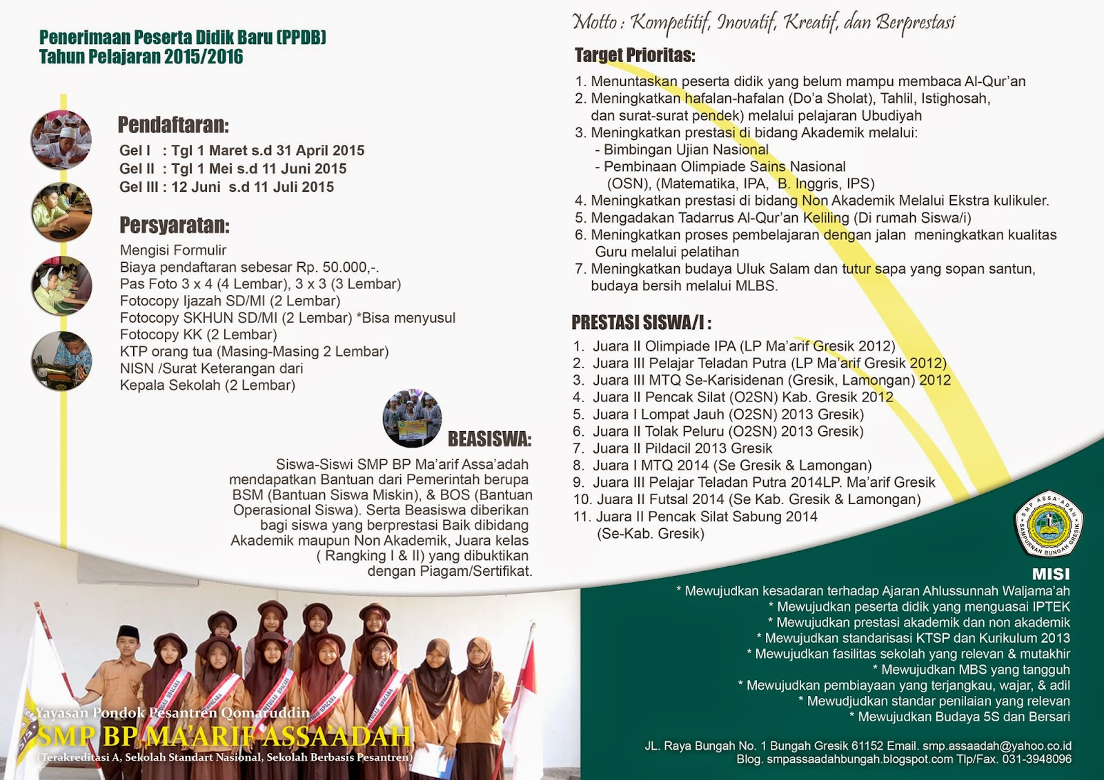 PENERIMAAN PESERTA DIDIK BARU TAHUN PELAJARAN 2014 -2015