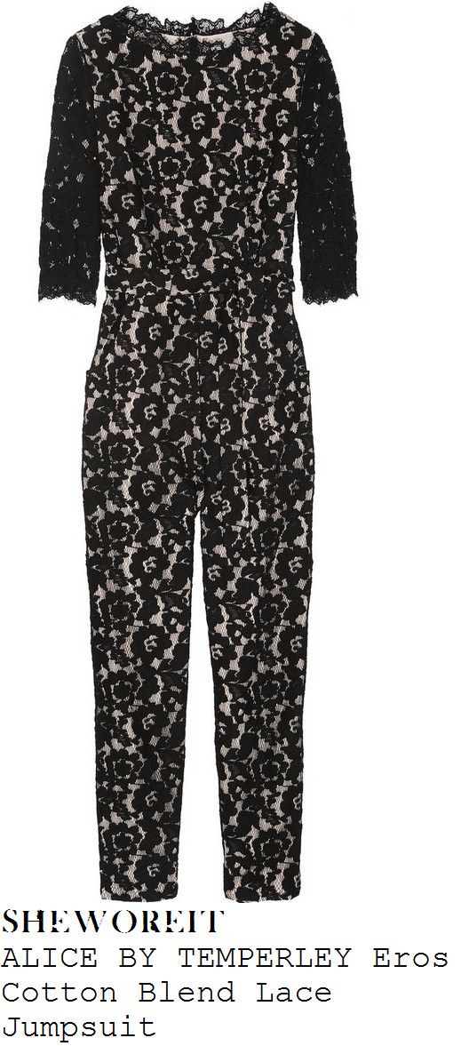 kimberley-walsh-black-floral-lace-half-sleeve-tailored-jumpsuit