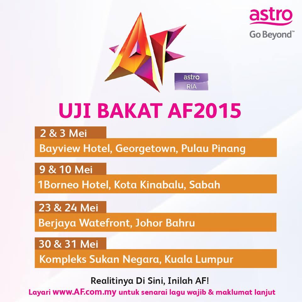 Tarikh Dan Lokasi Ujibakat AF 2015 Akademi Fantasia
