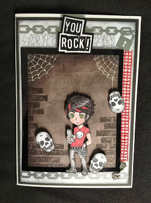 skulls chains rock grunge teenager character stamp