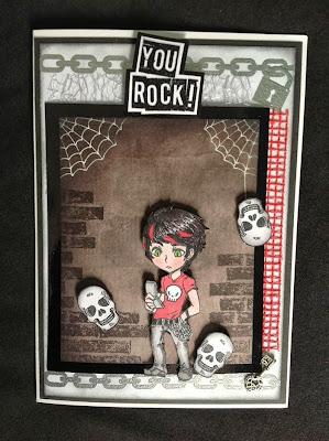 skulls chains rock grunge teenager character stamp