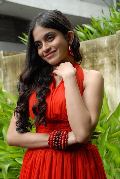sheena shahabadi shoot red dress cute stills