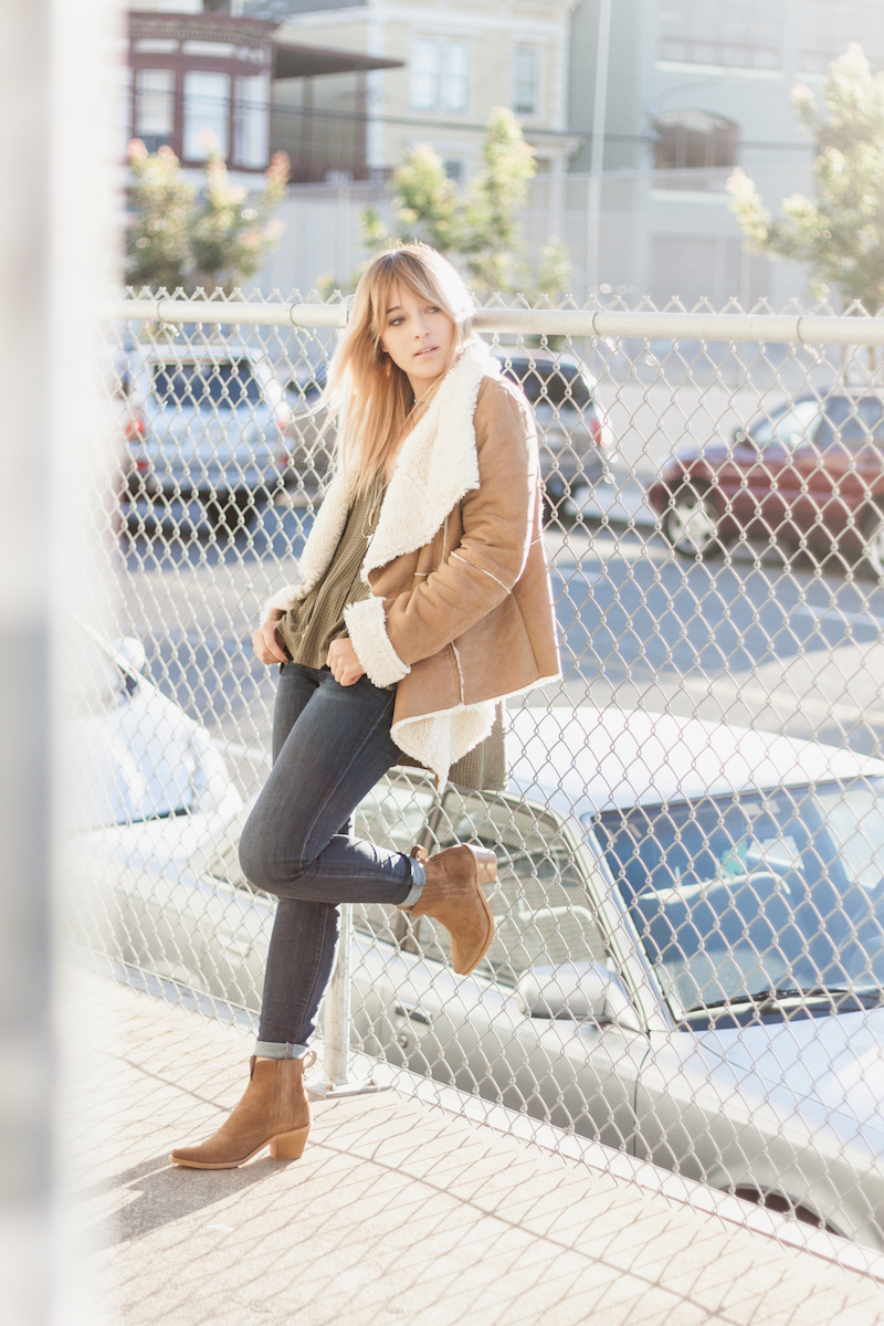 shearling draped jacket styled with olive green thermal and other key fall layers on Stone Fox Style a fashion blog by Bryn Newman