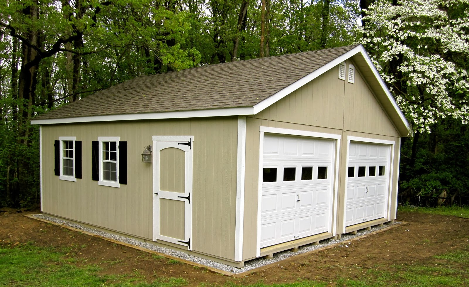 Waterloo structures storage sheds double wide garages for Garage roof styles