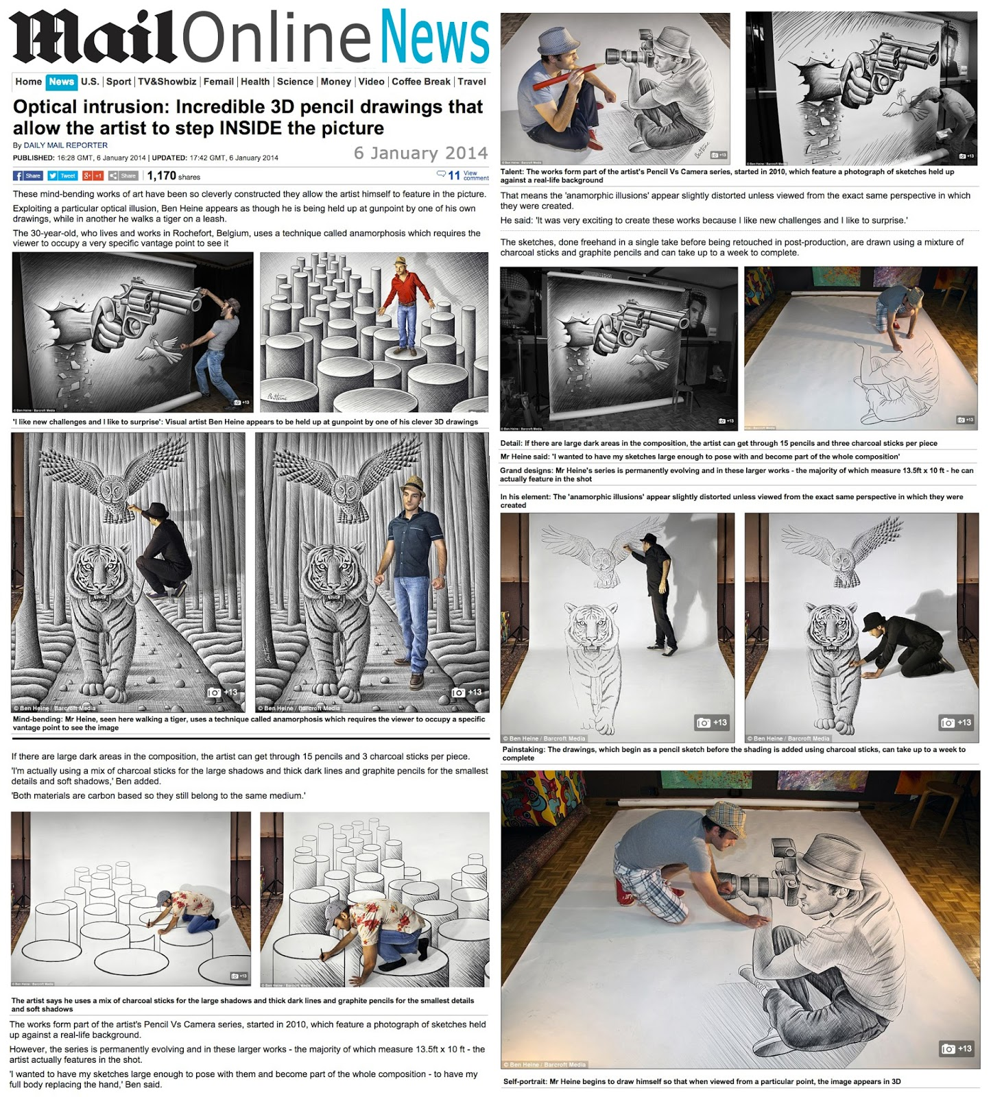 Ben Heine Art - News Article in Daily Mail - UK (January 2014)
