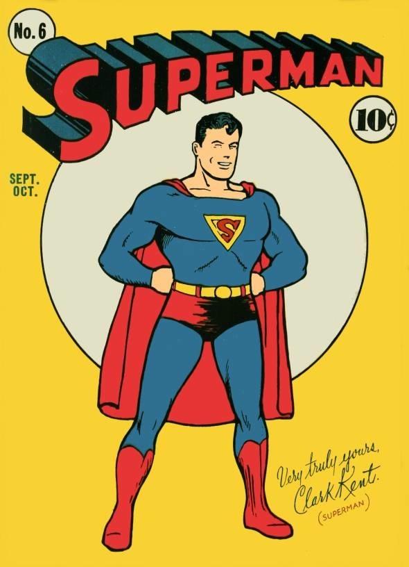 Imagen de la portada original del cómic de Superman, número 6. Arriba las letras en Rojo con el nombre de Superman y abajo el afamado superhéroe de azul y capa roja.
