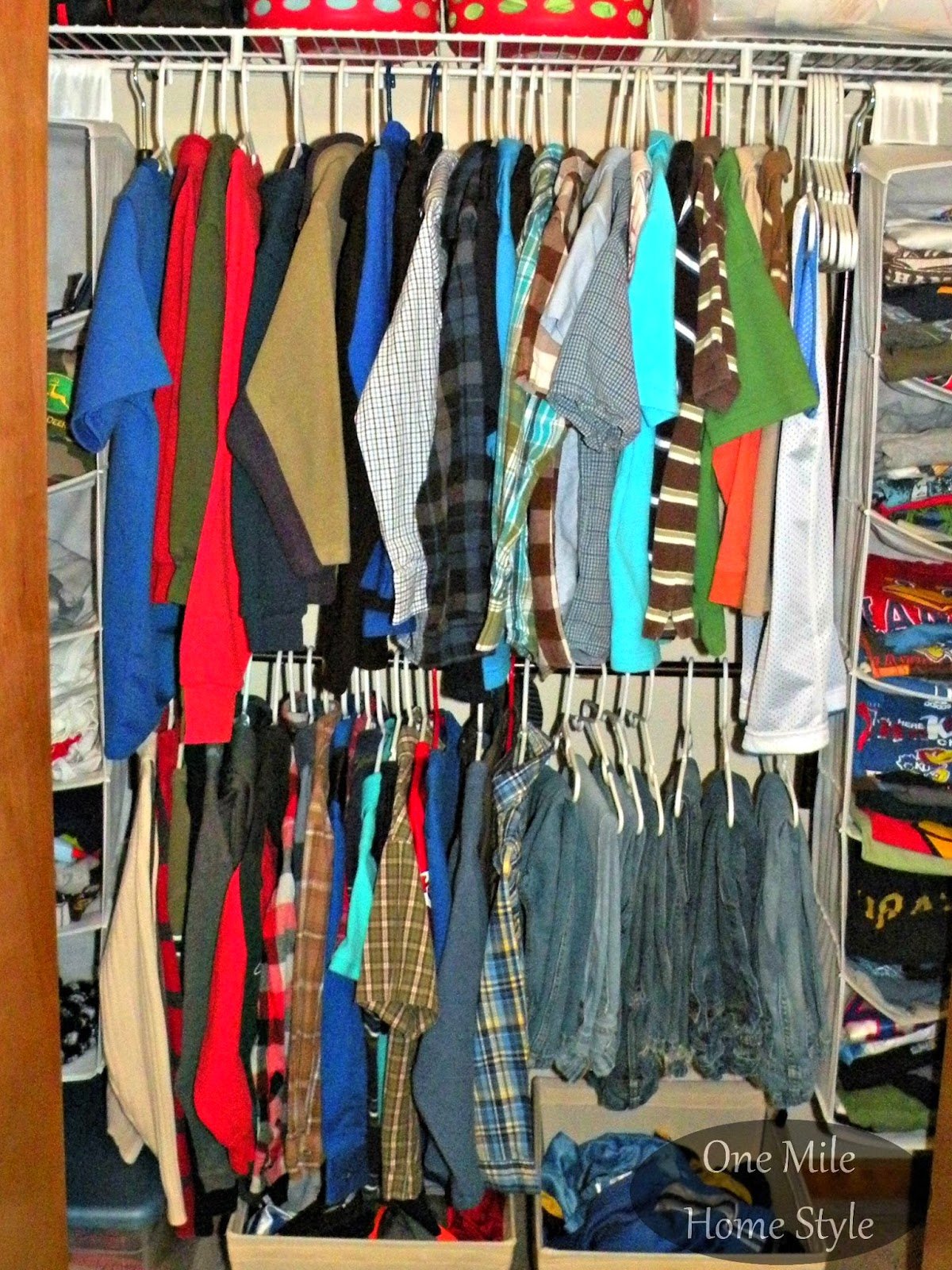 Double closet space with a hanging rod