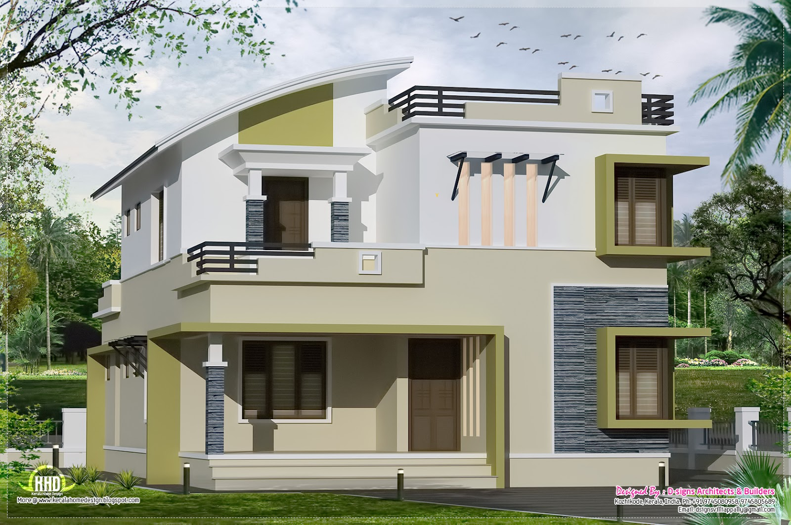 2400 square feet 2 floor house kerala home design and for Two floor house design