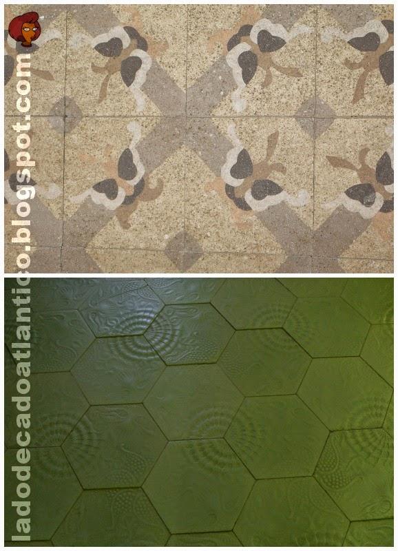 Imagem de com fotos de pisos: o primeiro é de um dos andares da Casa Batlló, e o segundo está em muitas divisões da Casa-Museu Gaudí situada no Parque Güell, Barcelona, Espanha
