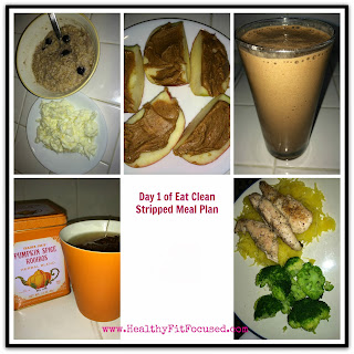 Eat Clean Stripped Meal plan Day 1, eat clean