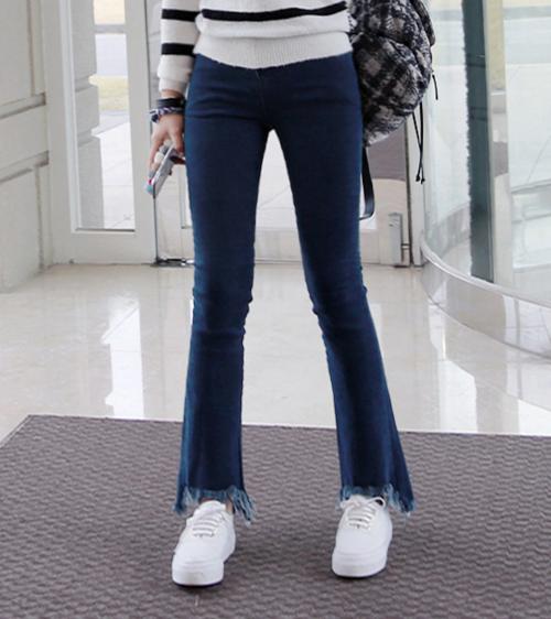 Fringed Flared Hem Jeans