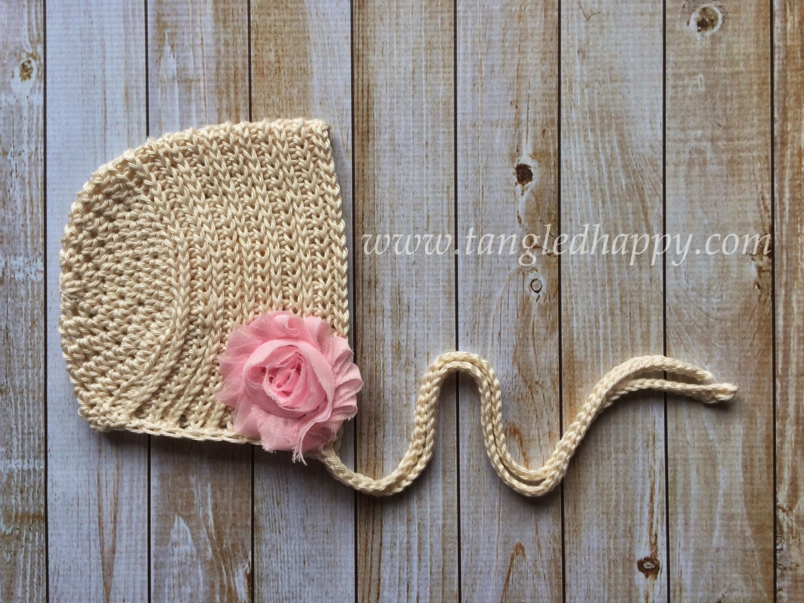 Crochet Baby Bonnet Pattern : tangled happy: Ribbed Baby Bonnet 0-3 Months {Free Crochet ...