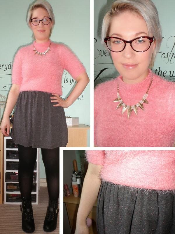 Pink Fluffy Jumper over a Grey Speckled Skater Dress