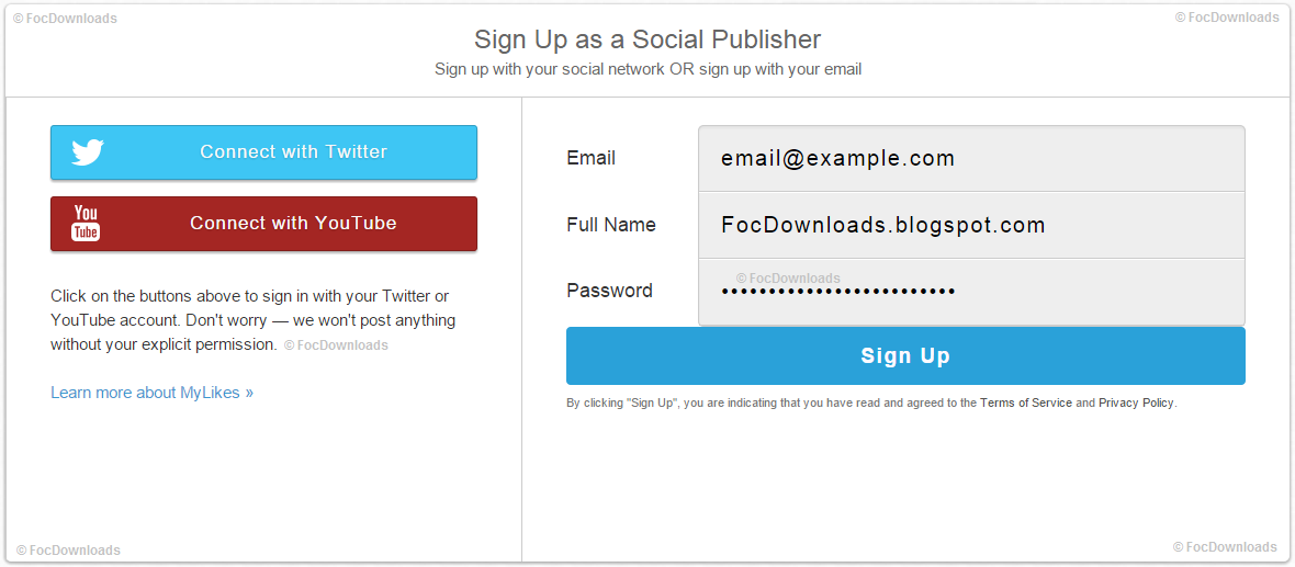 Sign up with Twitter/Youtube/Email Account