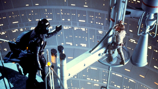 "Darth Vader and Luke Skywalker in ""The Empire Strikes Back"""