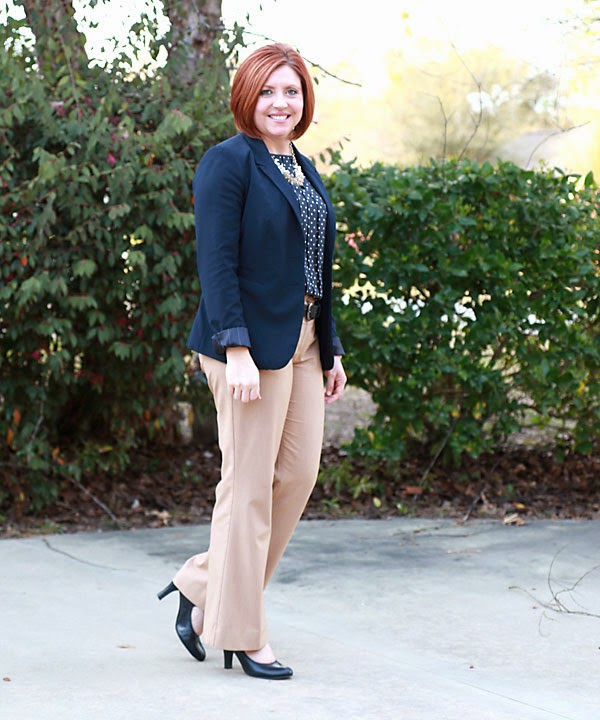 camel and navy office outfit