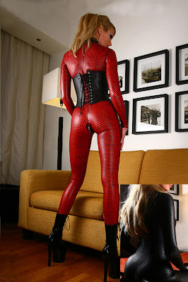 Sexy Red Wet Look Faux Leather Catsuit at Latex Leather and Lace