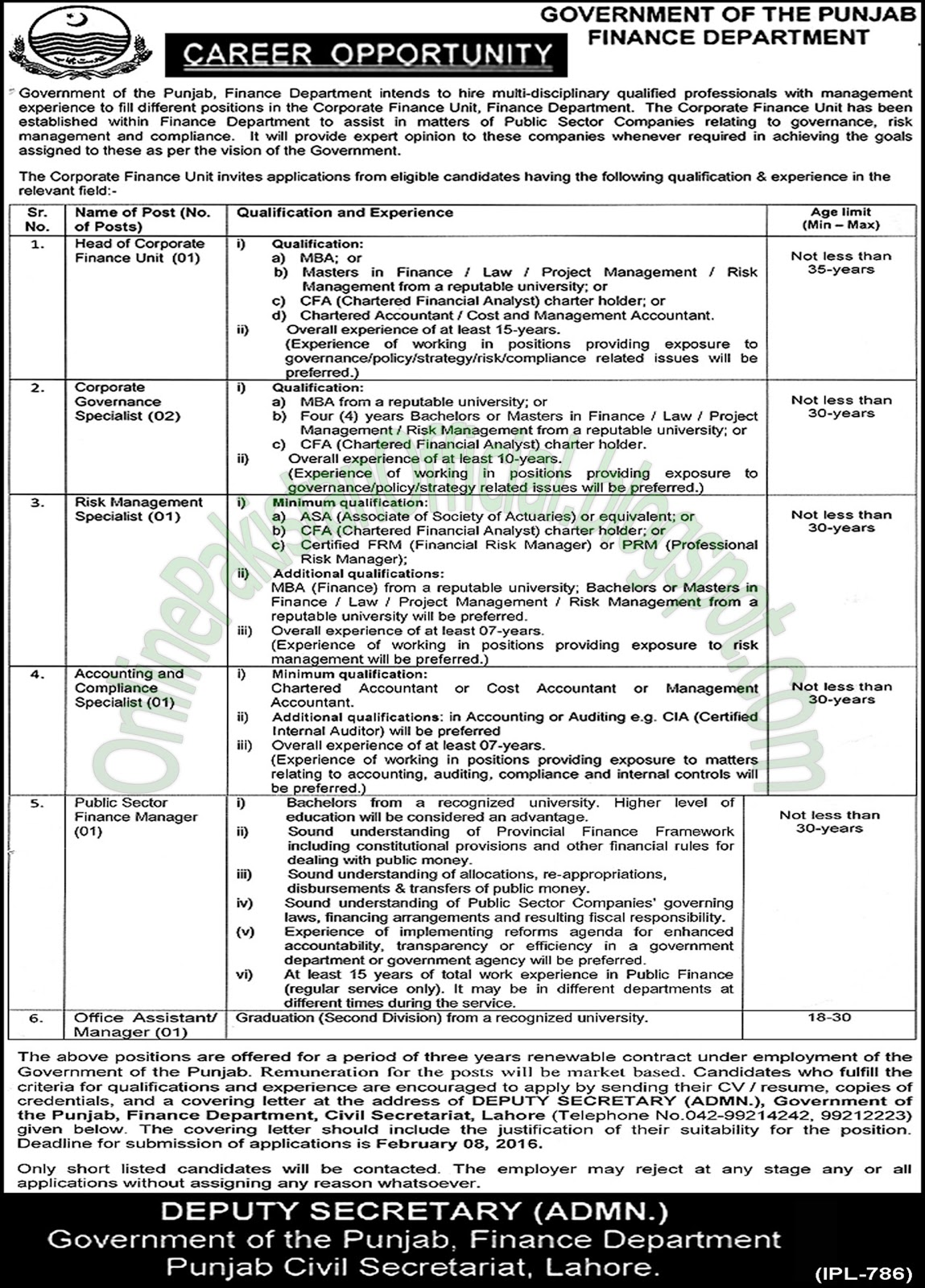 Finance Department Lahore Punjab Jobs Latest
