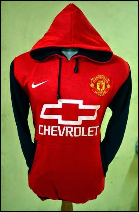 New Jumper Hoodie Bola Kombinasi 2014 - 2015 Manchester United MU Chevrolet (merah kombinasi hitam)