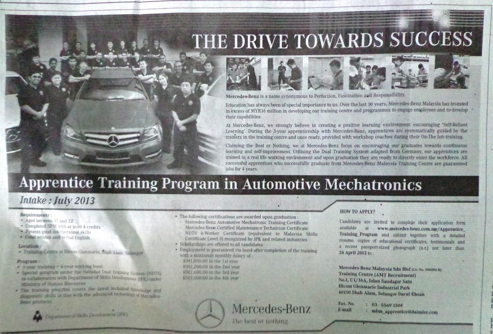 Pengajar april 2013 for Mercedes benz training program